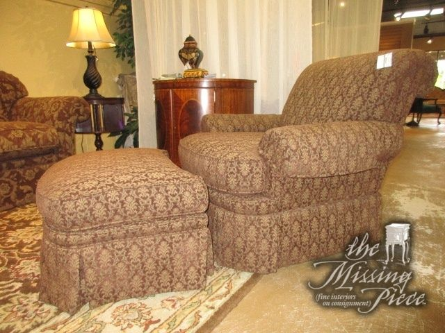 Clayton Marcus Chair In A Warm Patterned Upholstery Sold With Matching  Ottoman. Love The Rolled