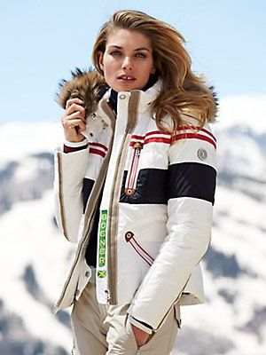 dalila-dp stripe jacket with fur