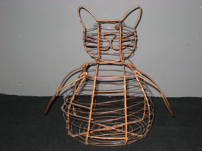 Cat Basket/One Eyed Cat Wire Egg Basket/Copper Egg Basket/Copper ...