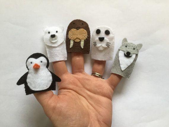 Felt Polar Bear Hand Sewn Wool Felt Finger Puppet