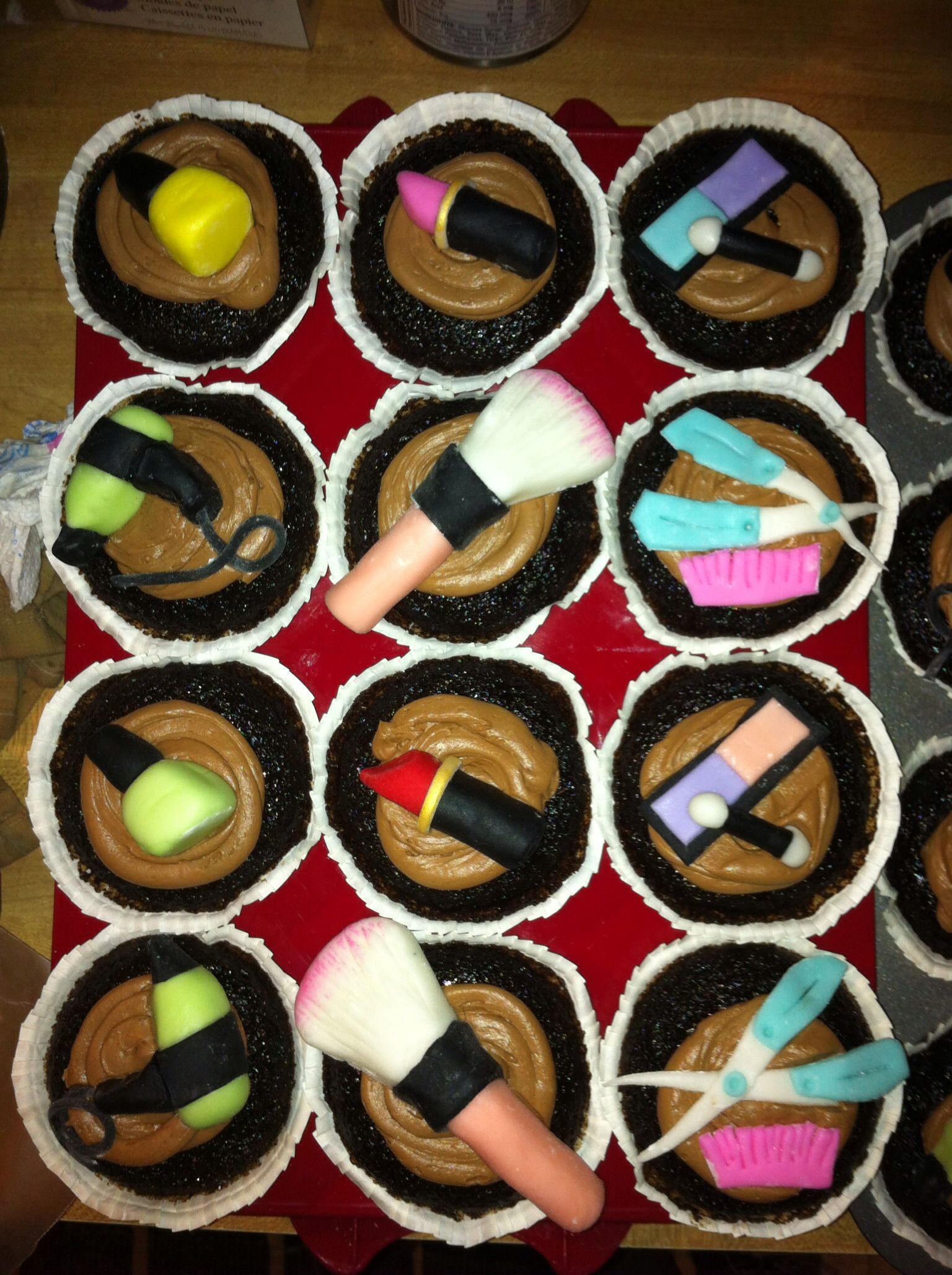 Cupcakes I made for a cosmetology school grad. Eat cake
