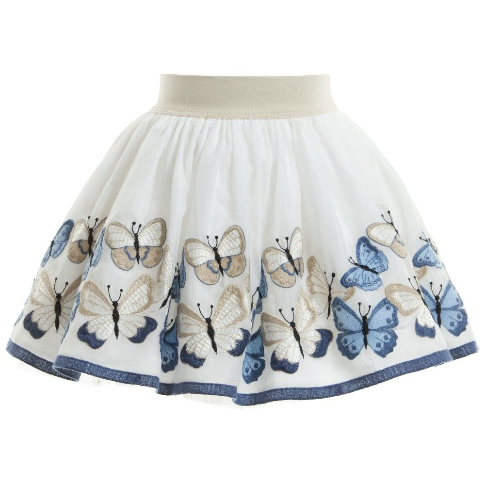 Monnalisa Girls Skirt With Butterflies at Childrensalon.com
