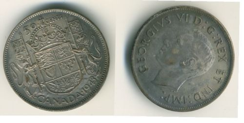 1943 Canada 50 Cents Coin Canadian Coins Coins Canadian Coins Fifty Cent
