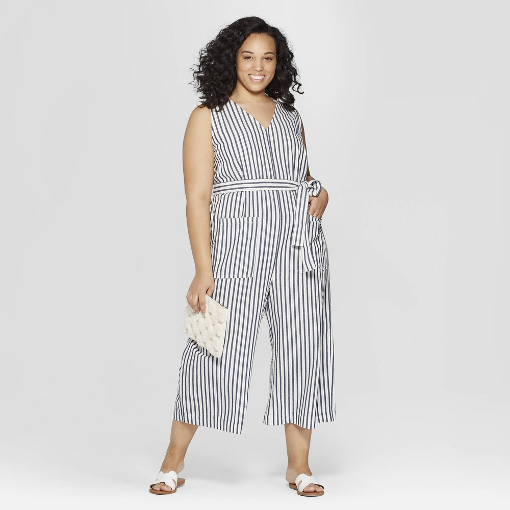 9db7ce9f379 Women s Plus Size Striped Sleeveless V-Neck Jumpsuit - Universal Thread  Navy 4X