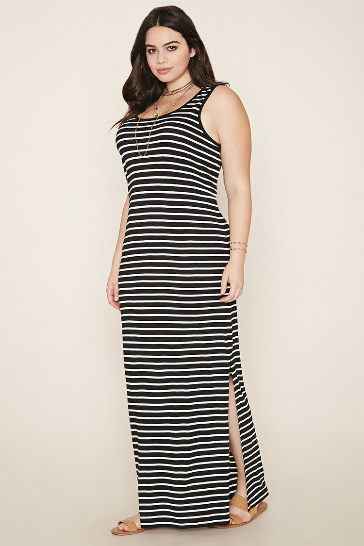 Forever 21+ - A sleeveless knit maxi dress featuring an allover ...