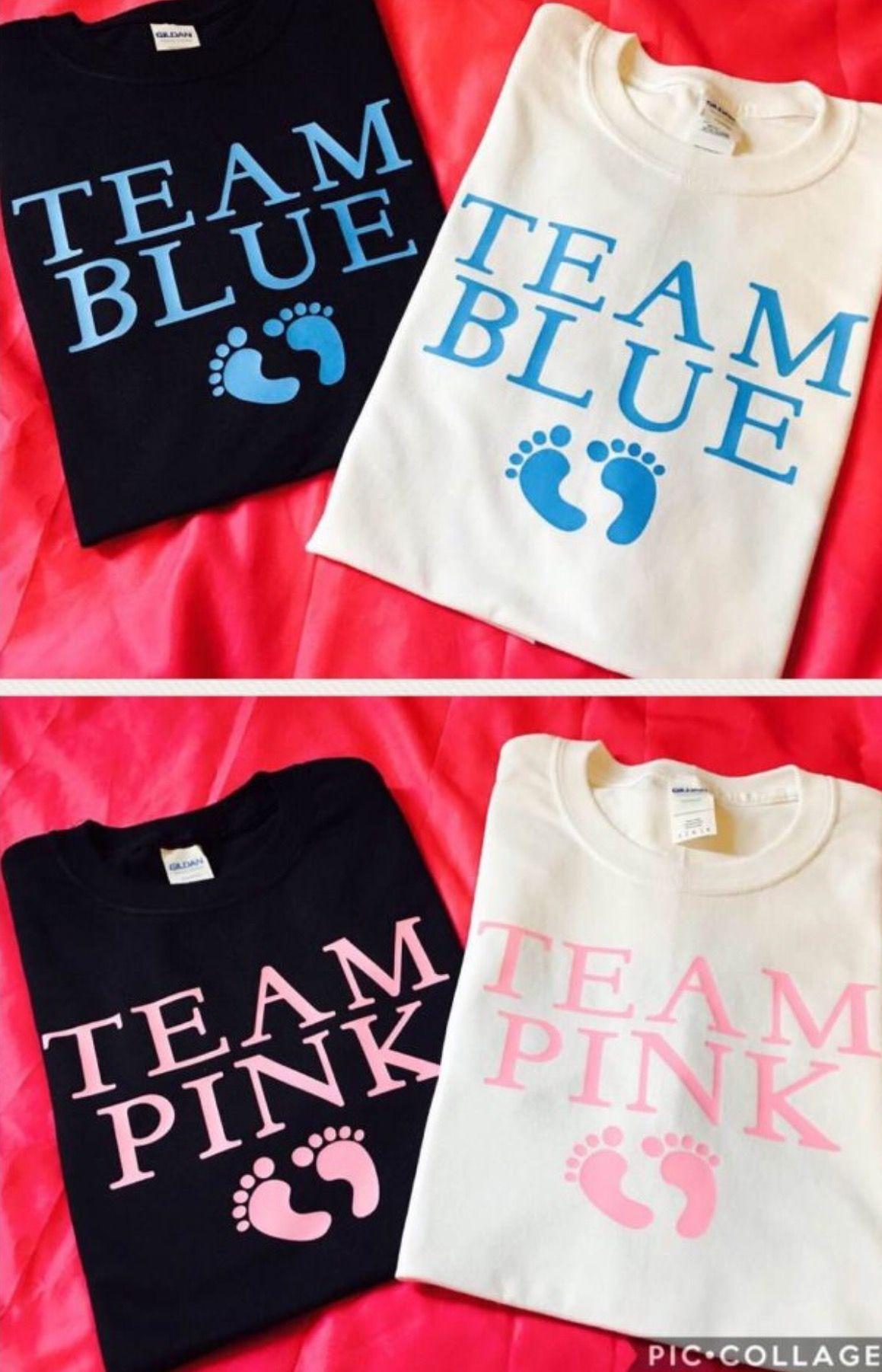 Gender reveal shirts team pink team blue