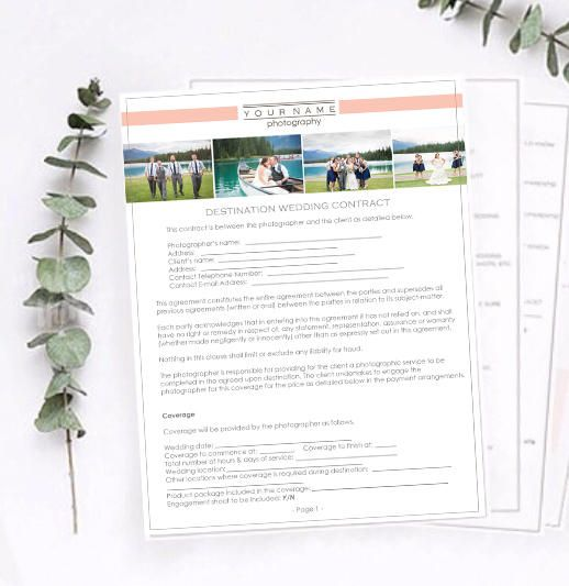 Destination Wedding Photography Contract - Photography Release - wedding contract template