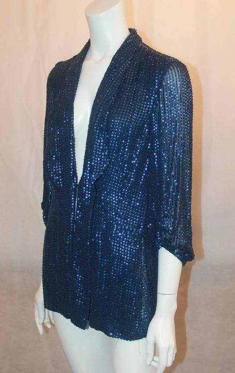 Diane Von Furstenberg Blue Sequin Loose Blouse - 6 2