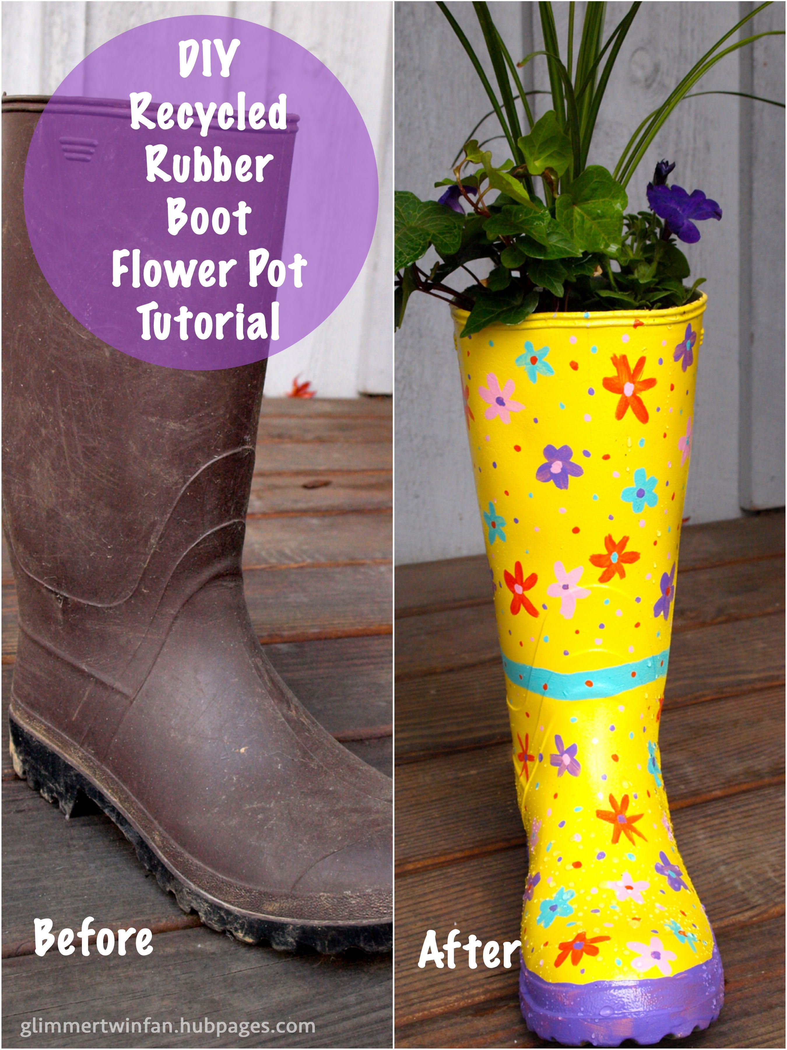 how to make a flower pot out of a recycled rubber boot