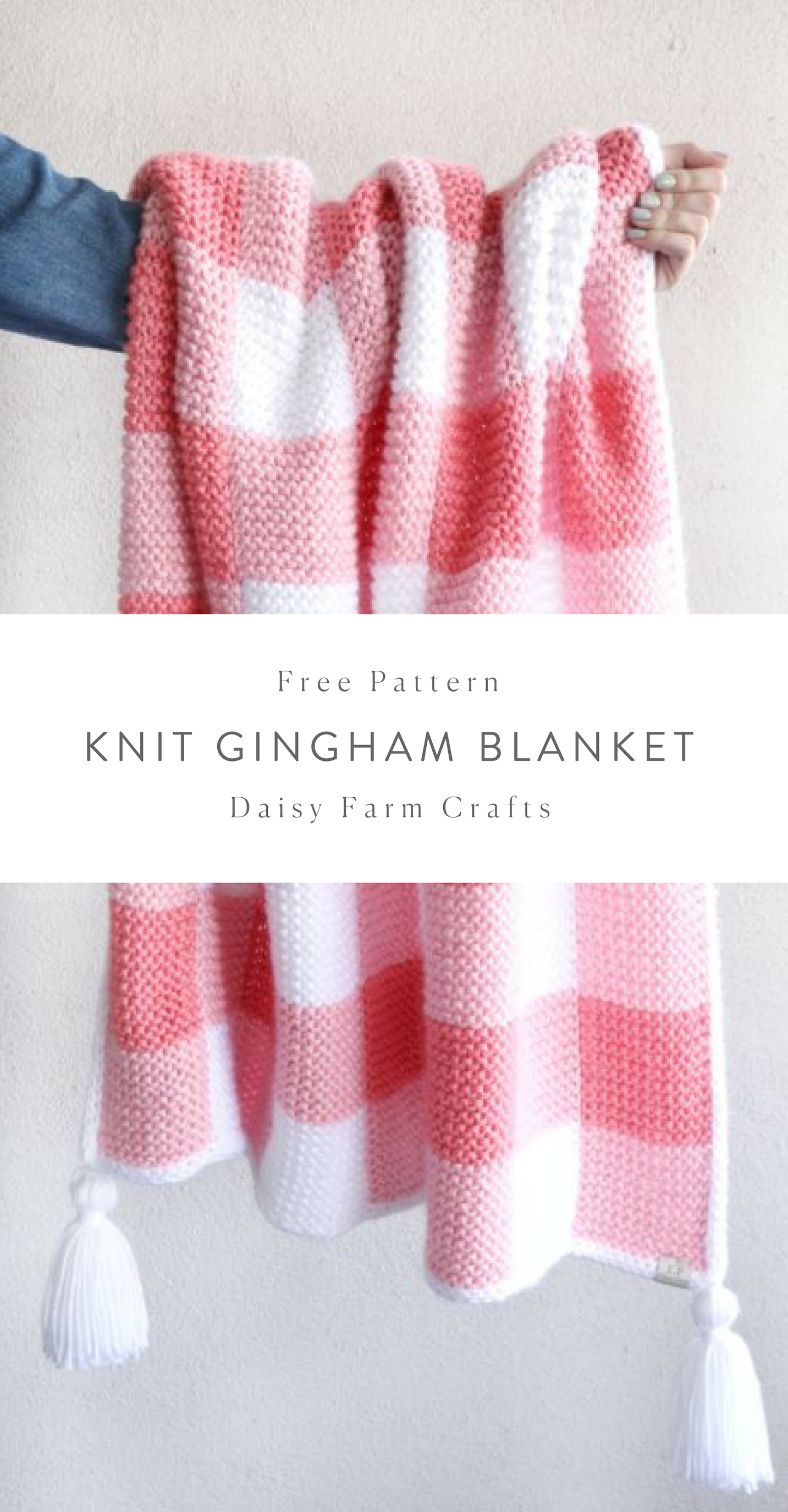 Free Pattern - Knit Gingham Blanket #knitting