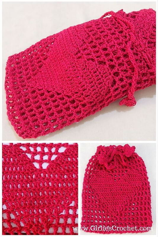 Big Heart Pouch | Pinterest | Bolsa crochet, Cartucheras y Pashminas