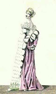 1811   Evening Dress, French.  Pink gown with small spot pattern and worn with a fur shawl and evening cap.     Fashion Plate via Costume Parisienne.  suzilove.com