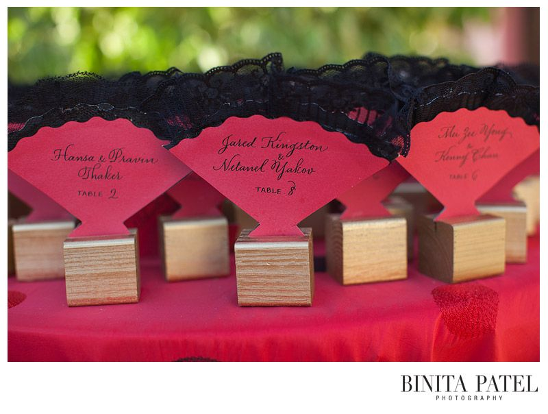 Red And Black Fan Style Cards Calligraphy By Megan Chapin Destination Wedding
