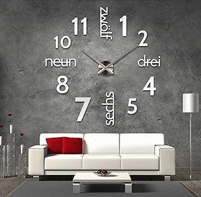 Details zu Silber deutsche Riesen Designer Wanduhr Wandtatoo XXL in - wanduhren wohnzimmer modern