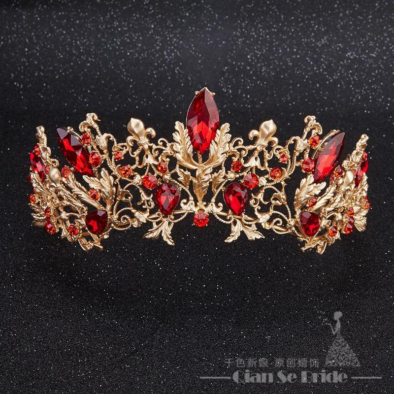 Baroque Bridal Red Crystal Rhinestone Tiaras And Crowns Women Tiara Hair Jewelry Wedding Accessories