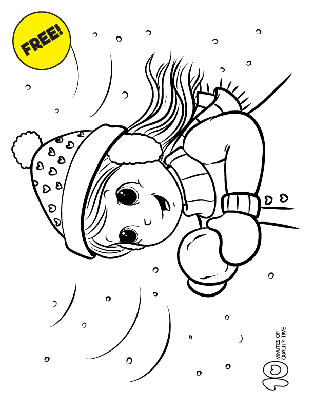 Girl in the Snow Coloring Page | 10 Minutes of Quality Time ...