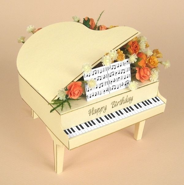 A4 Card Making Templates For 3d Grand Piano Display Box By Card Carousel Card Making Templates Card Making Card Craft