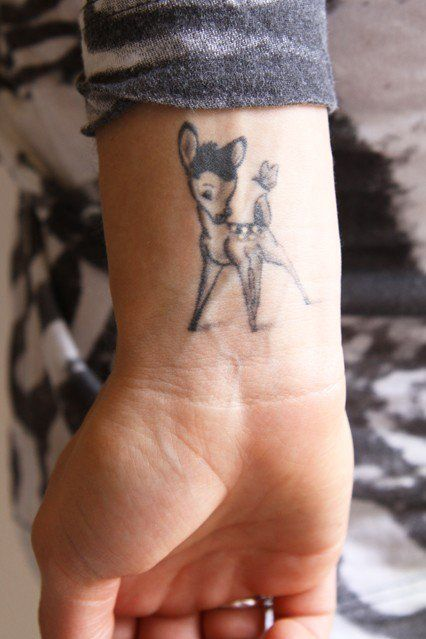 Bambi Disney tattoo on the wrist/arm - ATTENTION!!! Disney does NOT want you to do this!!!! STOP! THINK!