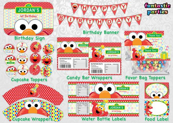 Diy elmo party ideas with free printables from birthdays free elmo birthday party printable decorations solutioingenieria Image collections