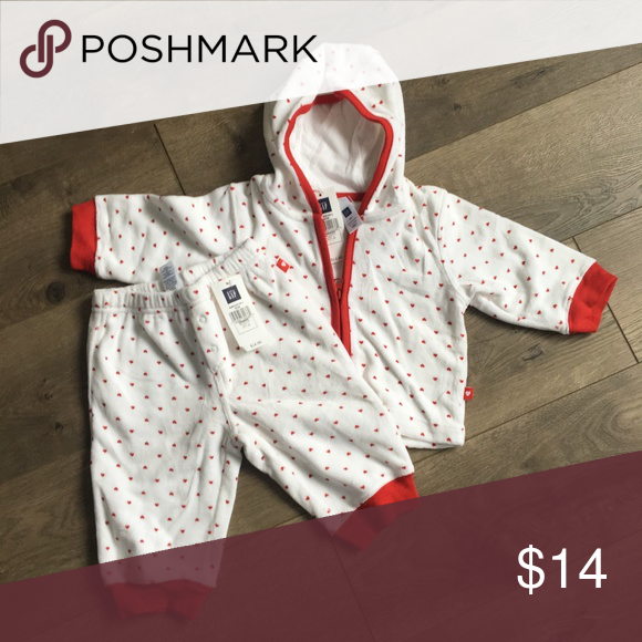 Baby Gap White Velour Red Heart Hoodied Sweat suit ...