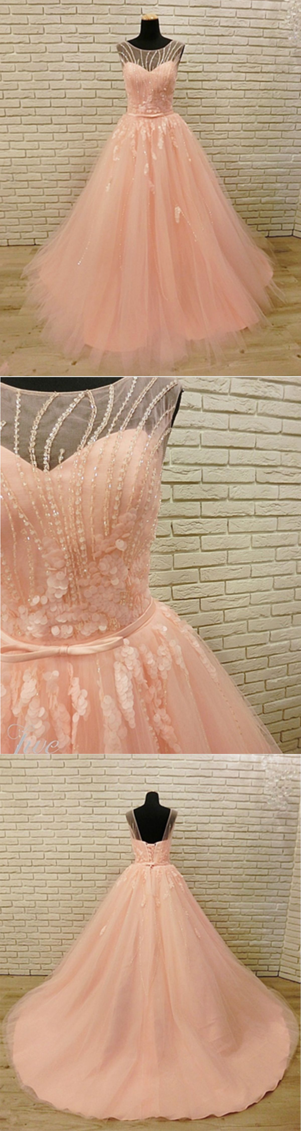 Pink tulle open back long crystal halter sweet prom dress from