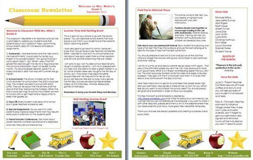 Classroom Newsletter Template  School Ot    Newsletter