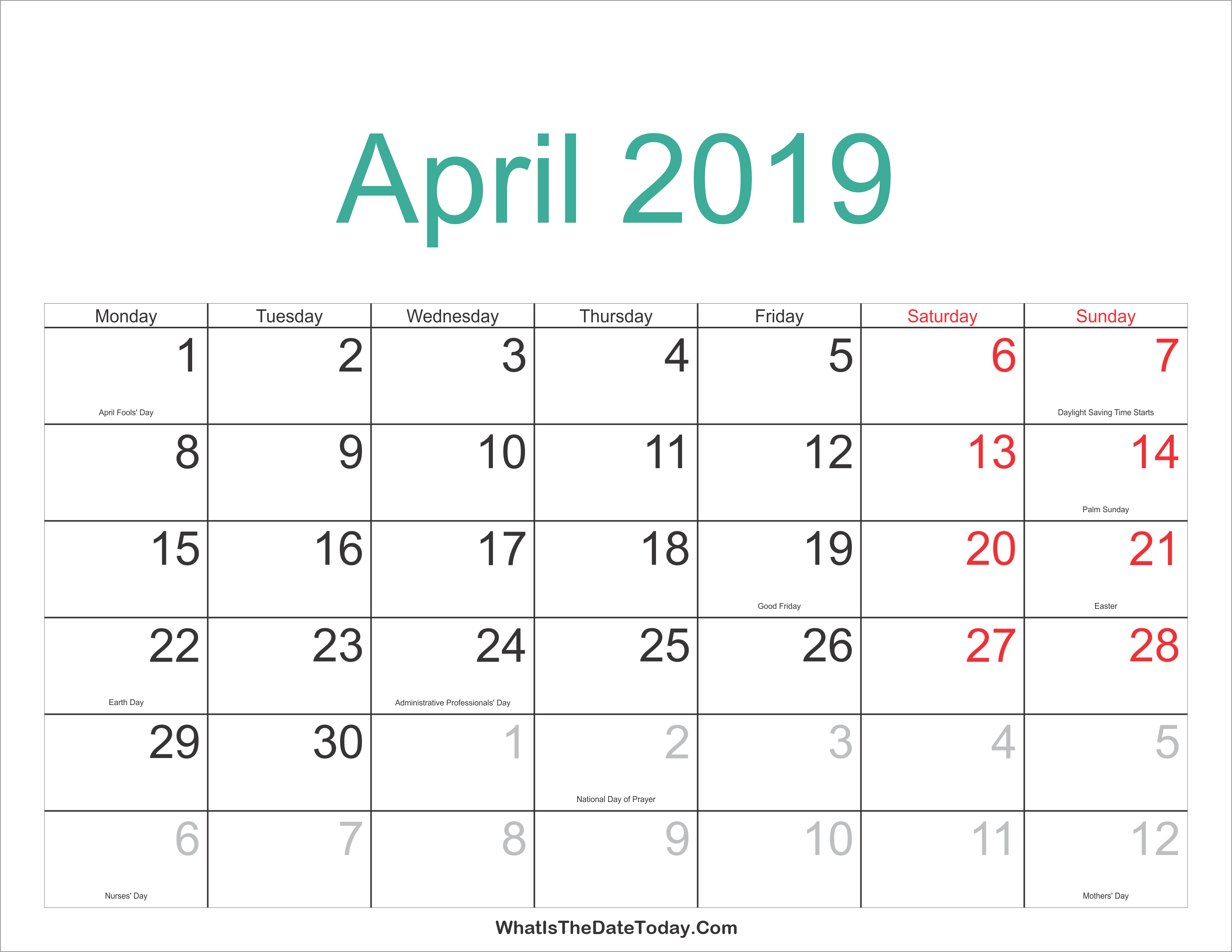 2018 2019 Calendar Free Printable Two Year Pdf Calendars By April