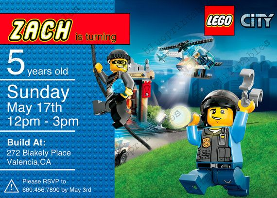 Lego City Birthday Invitation Personalized With Door Blueprintables