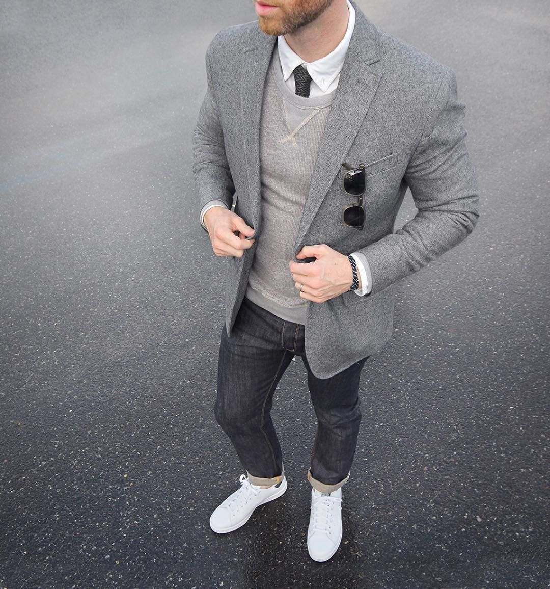 Layered gray #ConcreteCamouflage Blazer/Tie: @bananarepublic Bracelet: @miansai bind rope Denim: @shockoe_atelier slim como Shoes: @adidasoriginals Stan Smith @nordstrommen Oxford: @grayers Sweatshirt: @jcrew by thepacman82