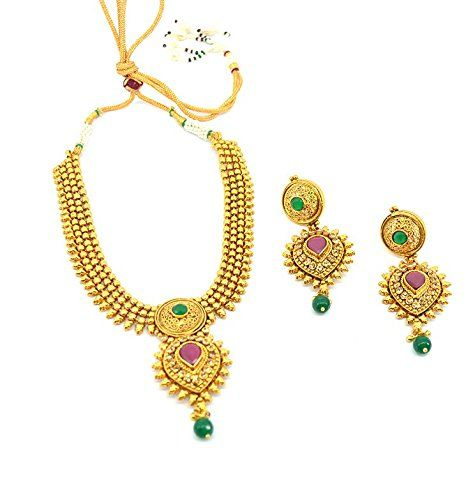 Saloni Fashion Jewellery Designer High Gold Necklace with kundan