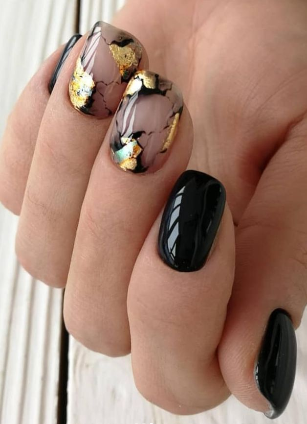 black short Square Nails Design; natural square nails design pretty short nailsc…