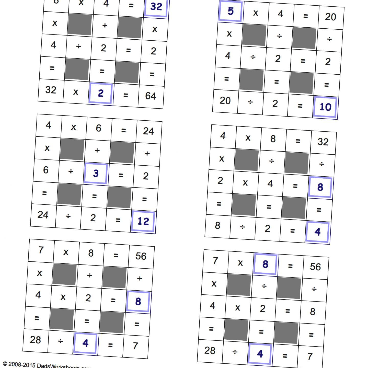 Grid Puzzles Multiplication And Division Multiplication