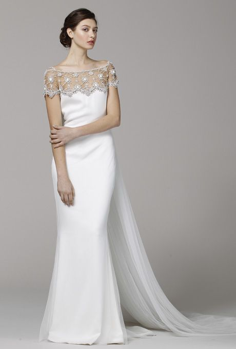 marchesa spring 2015 scoop neck silk faille ball gown wedding dress with cap sleeves