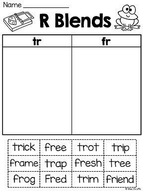 R Blends Worksheets And Activities No Prep Pack First Grade