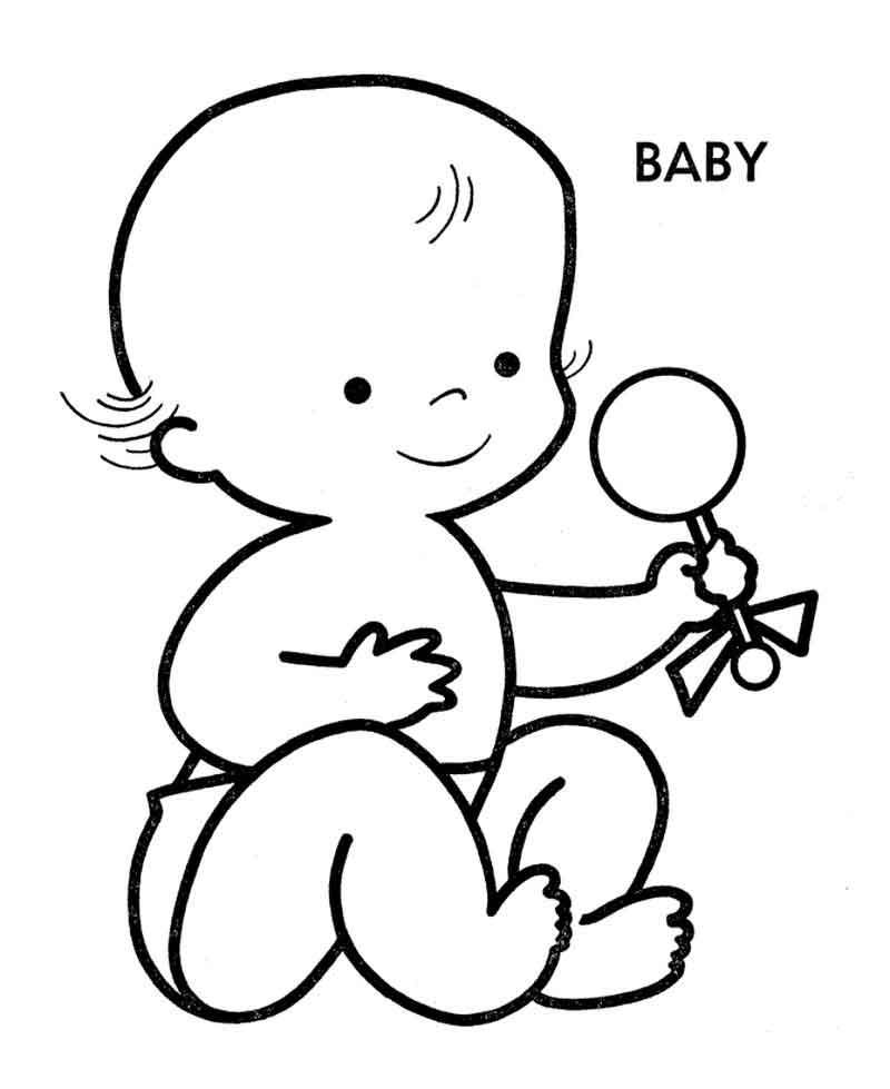 Baby With Rattle Coloring Page From Baby Coloring Pages Category