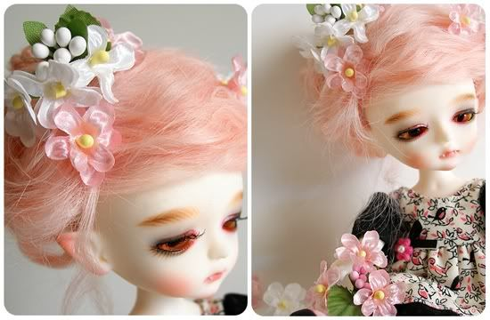 Honey Tree...a pretty vampire (she only eats and drinks candied foods, made of sweet nectars and sugars) doll with pink hair.