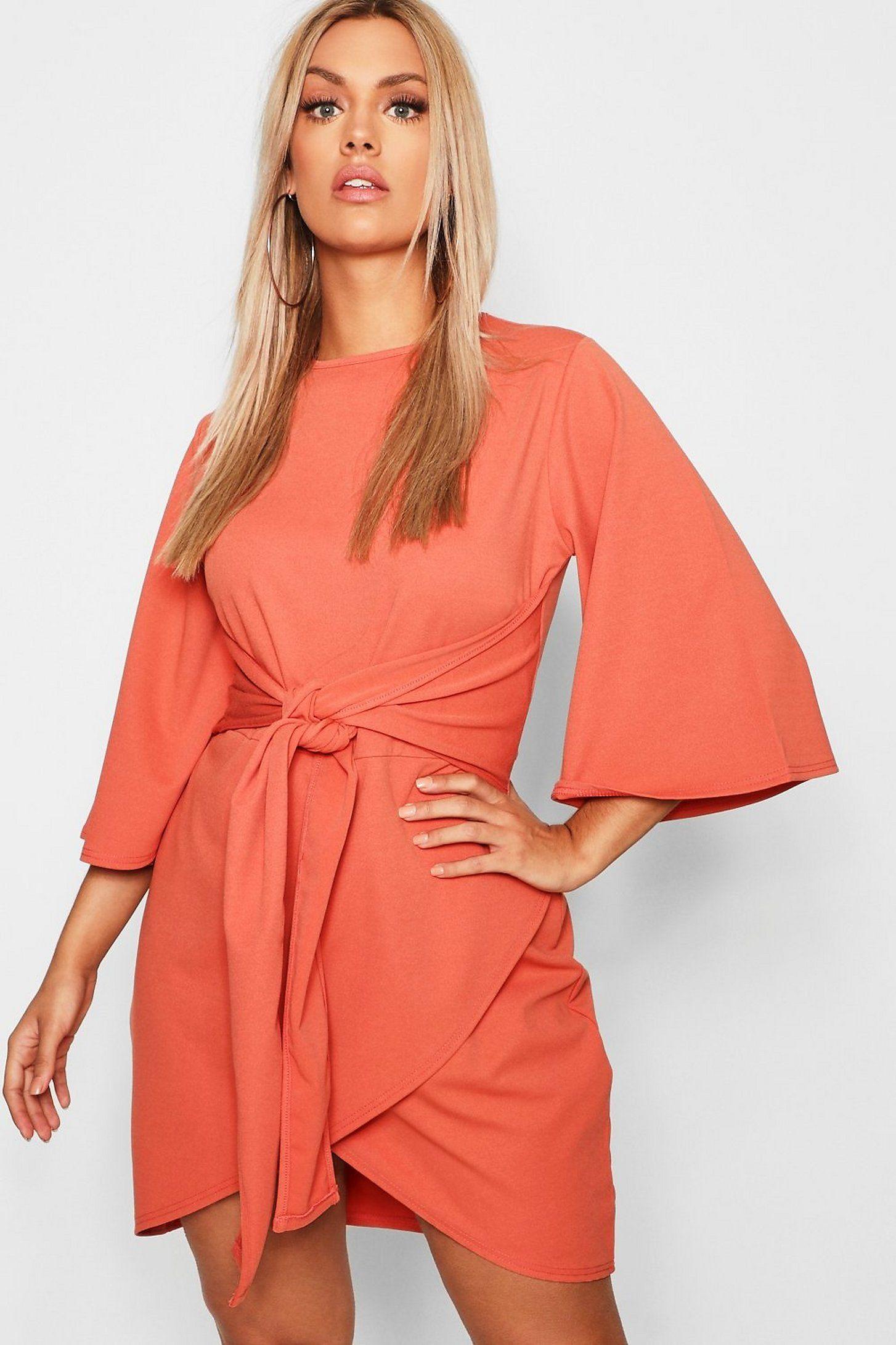 Plus kimono sleeve tie waist wrap dress boohoo dresses