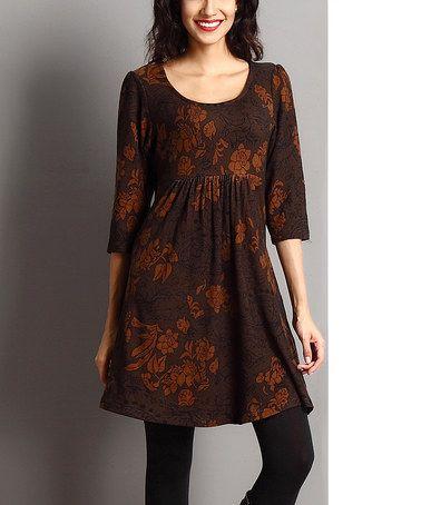 Brown Paisley Empire-Waist Dress #zulily #zulilyfinds