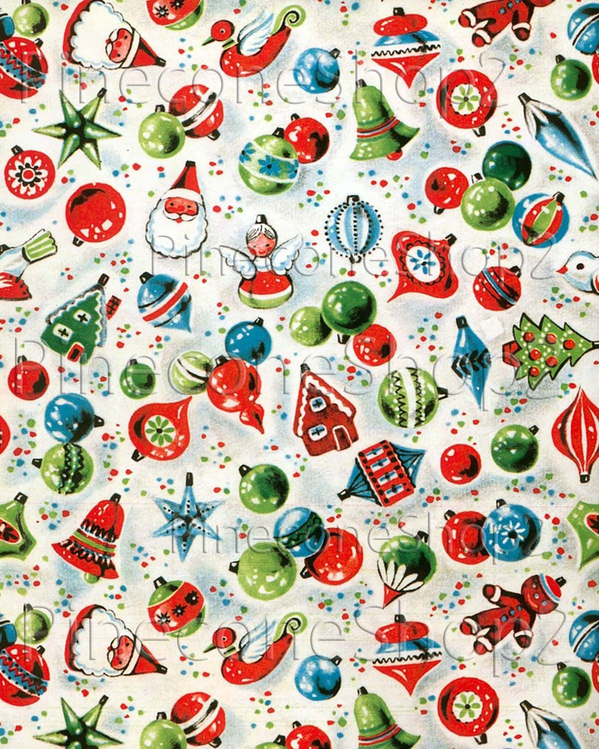 Vintage Christmas Wrapping Paper 8x10 inch Instant