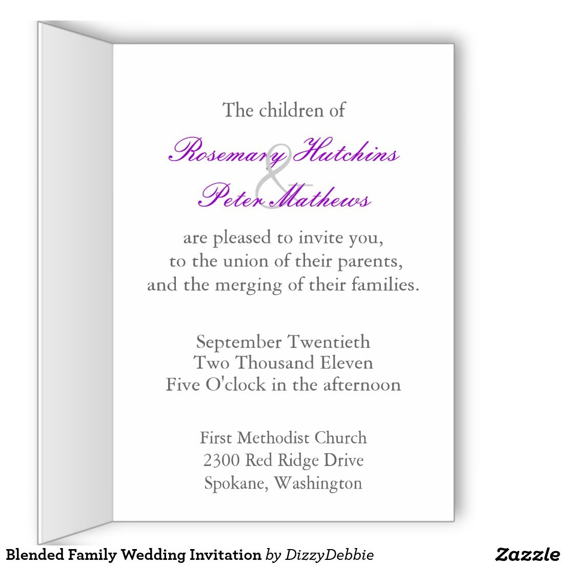 Blended Family Wedding Invitation Greeting Card | wedding ...