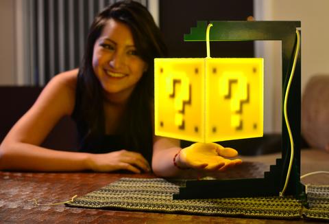 Mario Block Lamp The Question Block Lamp Stand 8 Bit Lit
