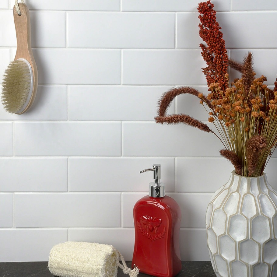 London White 3x9 Ceramic Tile Ceramic Subway Tile White Subway Tile Backsplash White Tile Backsplash