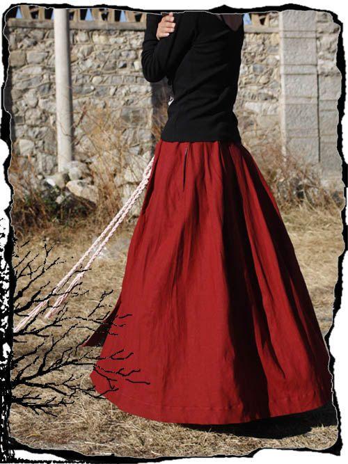 Red Long skirt fashon skirts women Skirts Linen Skirt women dress ...