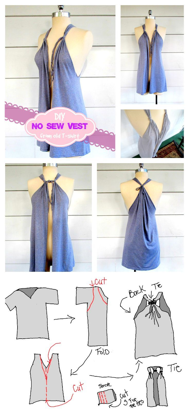 No sew project make beautiful vests from old t shirts in less than explore no sew projects do it yourself projects and more solutioingenieria Images