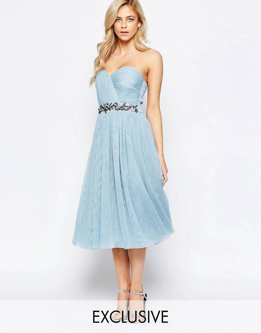 Image 1 of Little Mistress Bandeau Embellished Midi Dress With Tulle ...