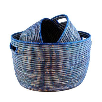 Nesting Handmade Woven Storage Basket Set   Navy Wolof Women In Rural  Senegal Weave These Storage