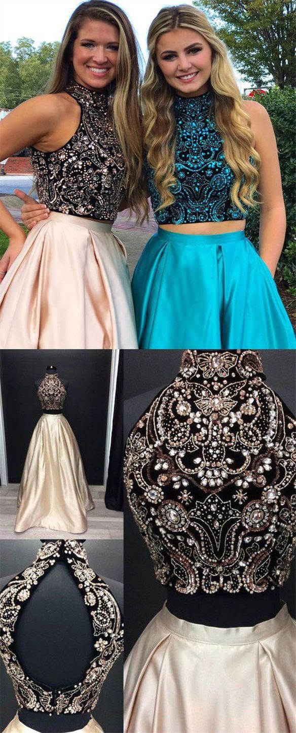 Two Piece Jewel Open Back Floor Length Champagne Prom Dress With