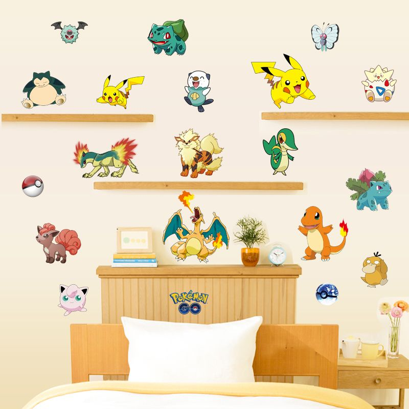 Kids bedroom decor 3d pokemon wall stickers removable children wall ...