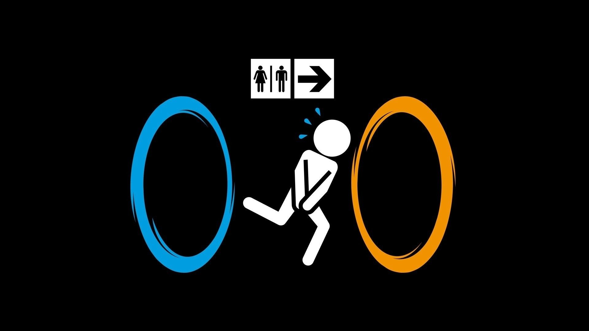 Video Games Portal Humor Signs Bathroom Running Black Background 1920x1080 Wallpaper Funny Wallpaper Funny Pictures Tumblr Funny Wallpapers