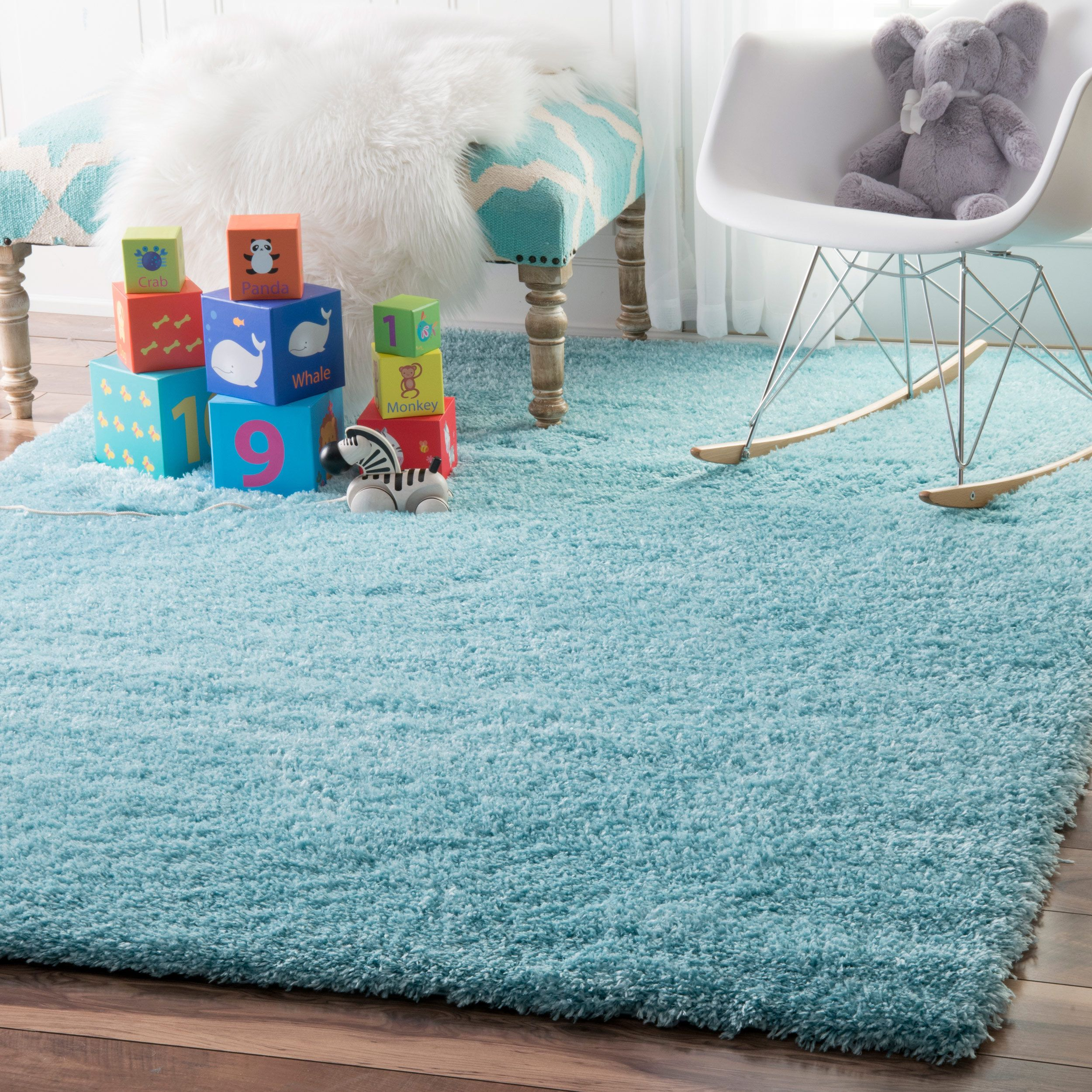 Nuloom Soft And Plush Cloudy Solid Baby Blue Rug 5 X 8